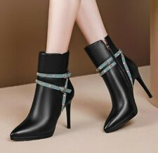 Womens High Stiletto Heel Zip Up Studded Pointed Ladies Ankle Boots Shoes Sexy