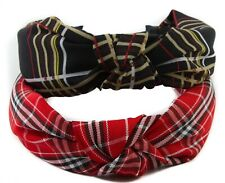 Tartan Knotted Headband Top Knot Vintage Style Wide Alice Band Hairband