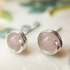 Dainty Rose Quartz Stud Earrings Sterling Silver 14K Gold/Rose Gold, Tiny Simple