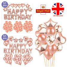 Rose Gold Happy Birthday Helium Foil Latex Balloons Bunting Banner Wedding Party