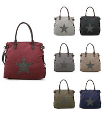 New Womens Large With Glitter Star Patterned Tote Handbag Crossbody Shoulder Bag
