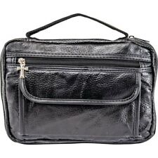 New Black Leather Bible Book Cover Case Tote Zipper Bag