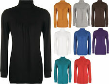 New Ladies Stretch Polo Neck Long Sleeve Womens Gathered Ruched Plus Top 12-30