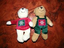 (2) Hallmark Christmas Snowflake Small Stuffed Plush Bean Teddy Bears