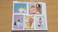 Ice cream parlour cafe shop posters x4 CHOOSE 1:12th 1:24th dolls house UK
