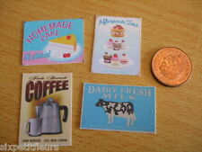 Cafe / coffee shop / bakery posters x4 kit 1:12th or 1:24th dolls house UK