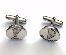 Handprint or footprint imprints in Silver keepsakes cufflinks