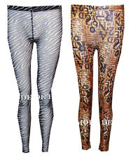 O36 NEW WOMENS ANIMAL SNAKE PRINT LADIES ZEBRA MESH FULL LENGTH LEGGINGS IN08-14
