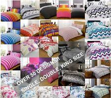 Duvet Quilt Cover Sets with Pillowcases Bedding Bed Linen Stripes or Floral