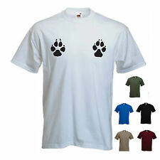 'Paw Print Boobs' . Mens funny  dog / cat / bear / animal T-shirt. S-XXL