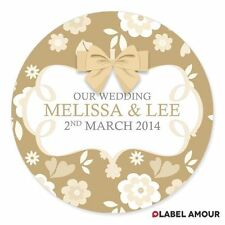 PERSONALISED Wedding Favour Party Bag Round Sticker Seals Labels Bow Floral