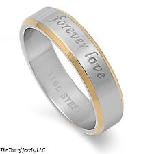 """6MM STAINLESS STEEL CURSIVE STYLE """"FOREVER LOVE"""" BAND RING 6-12 GOLD PLATED"""