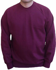 Felpa BORDO' da UOMO Fruit of The Loom NUOVA Girocollo AMERICANA Moda COOL Mens