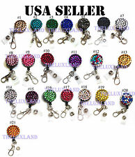 Bulk Wholesale Lot Rhinestone Crystal reel retractable ID badge holder