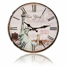 Stylische  WANDUHR  New York   Paris  London  präz. Quarzwerk  Ø 29 cm     ☆NEU☆
