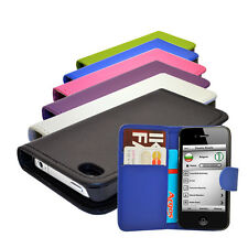 3 COLOUR MOBILE PHONE WALLET BOOK FLIP CASE COVER POUCH FOR APPLE IPHONE 4 /4S