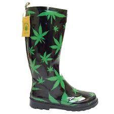 BLACK CANNABIS HEMP WEED WELLINGTON WELLIES RUBBER MENS RAIN BOOTS SIZE 5-11