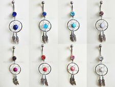 Dreamcatcher Dangle Belly Bar Navel Ring with Crystal Gems - 8 colours to choose
