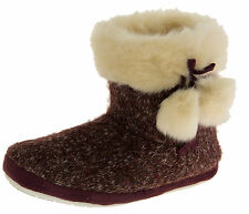Ladies DUNLOP Boot Slippers Warm Fur Lined Knitted Sipper Boots NEW Size 3 4 7 8