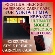 ACM-RICH LEATHER SOFT CARRY CASE for NOKIA LUMIA 520 MOBILE POUCH COVER POUCH
