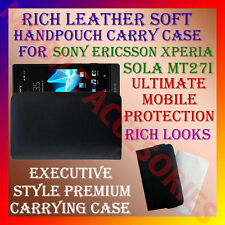 ACM-RICH LEATHER CARRY CASE for SONY ERICSSON XPERIA SOLA MT27i HANDPOUCH COVER