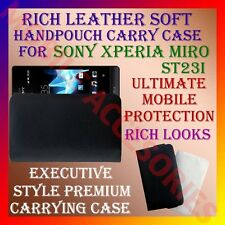 ACM-RICH LEATHER SOFT CARRY CASE for SONY XPERIA MIRO ST23i HANDPOUCH COVER CASE