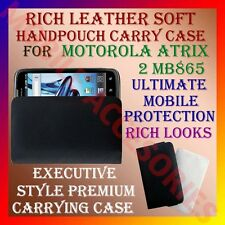 ACM-RICH LEATHER SOFT CARRY CASE MOTOROLA ATRIX 2 MB865 MOBILE HANDPOUCH COVER
