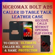 ACM-CALLER ID TABLE TALK CASE for MICROMAX BOLT A26 MOBILE FLIP COVER POUCH NEW