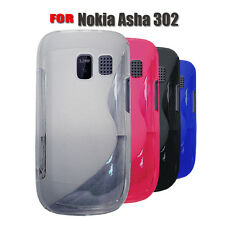 4 COLOUR SOFT RUBBER GEL MOBILE PHONE PROTECTIVE CASE COVER FOR NOKIA ASHA 302