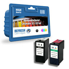 LEXMARK HIGH CAPACITY REMANUFACTURED INK CARTRIDGES BLACK #32 COLOUR #33 DEALS