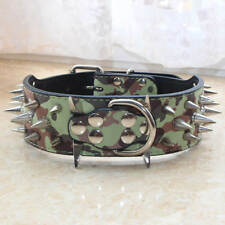 New Camouflage D-ring Leather Spiked Studded Dog Collars Large Pit bull Shepherd