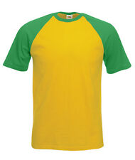 T-shirt BASEBALL Uomo Girasole/Verde Prato FRUIT OF THE LOOM Maniche Corte Nuova