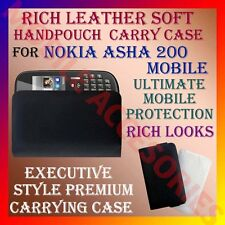 ACM-RICH LEATHER SOFT CARRY CASE for NOKIA ASHA 200 MOBILE HANDPOUCH COVER NEW