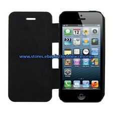 ACM-APPLE IPHONE 5S RICH PREMIUM LEATHER & METAL ALUMINUM FLIP COVER CASE POUCH