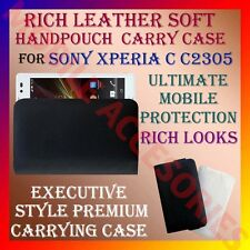 ACM-RICH LEATHER SOFT CARRY CASE for SONY XPERIA C C2305 MOBILE HANDPOUCH COVER