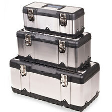 NEW STAINLESS STEEL PLASTIC TOOL BOX SET CHEST DIY TOOLBOX CASES
