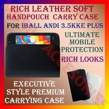 ACM-RICH LEATHER SOFT CARRY CASE for IBALL ANDI 3.5KKE PLUS MOBILE HANDPOUCH NEW