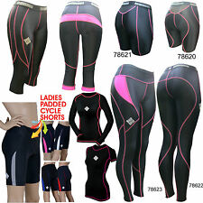 SHADOW Ladies compression tights shorts top cycling running padded GYM (AA)
