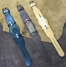 Extra Long Leather Cuff Watch Strap/Band fit Wire Lug Size16/18/20/22mm #450
