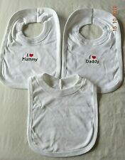 CUTE Cotton I Love my DADDY/MUMMY Baby Bib Feeding Pullover/Popover Plain White