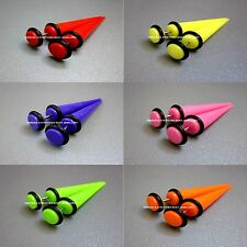 PAIR of  8mm Fake Stretchers  - Fake Cheater Tapers in 6 Neon Colours - Earrings