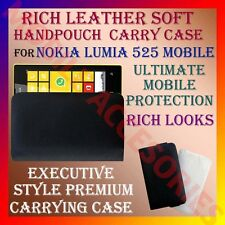 ACM-RICH LEATHER SOFT CARRY CASE for NOKIA LUMIA 525 MOBILE HANDPOUCH COVER