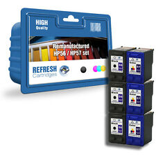 6 PACK REMANUFACTURED HP 56 / HP 57 INK CARTRIDGES - 3 FULL SETS HP56 HP57