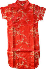 Robe Jupe Fille Chinoise Soie Qipao Rouge Neuve - Tailles 2 à 10 ans