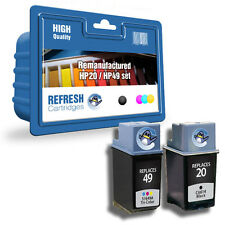 REMANUFACTURED HP HEWLETT PACKARD BLACK & COLOUR INK CARTRIDGES HP 20 & HP 49