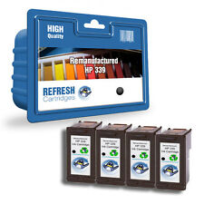 4 REMANUFACTURED HP HEWLETT PACKARD INK CARTRIDGE HP 339 BLACK - HP339 C8767EE