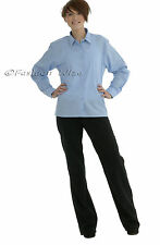 Ages 5-18 Girls School Shirts Blouse Long Sleeve White Sky Blue