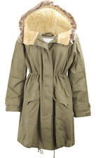 C89 NEW WOMENS LADIES FAUXFUR HOODED PARKA TRENCH JACKET COAT 8-16