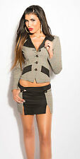 Tailleur Mini jupe blazer Noir/gris sexy businesslook-femme d affaire fashion