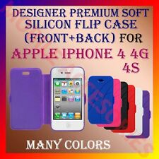 ACM-DESIGNER PREMIUM SILICON SOFT FLIP CASE for APPLE IPHONE 4 4G 4S COVER NEW